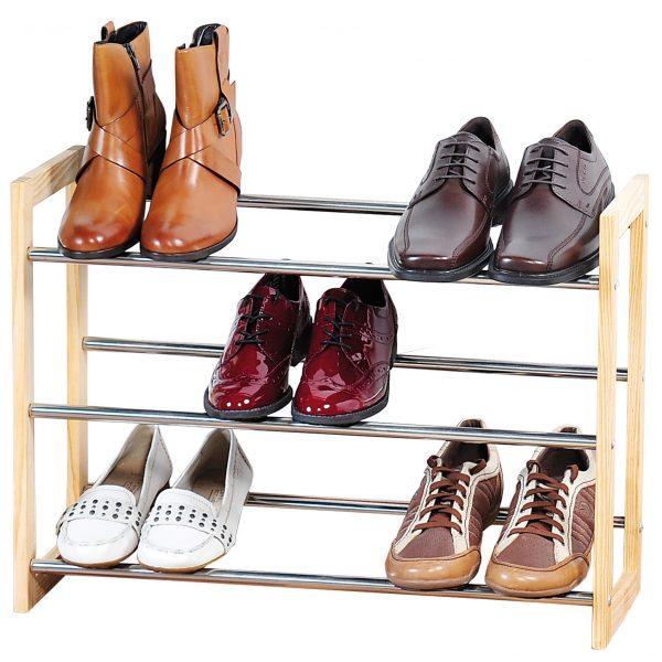 Metaal schoenenkastje/schoenrekje 22 x 61-118 x 46 cm met uitschuifbare stangen -