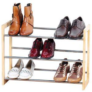 Metaal schoenenkastje/schoenrekje 22 x 61-118 x 46 cm met uitschuifbare stangen