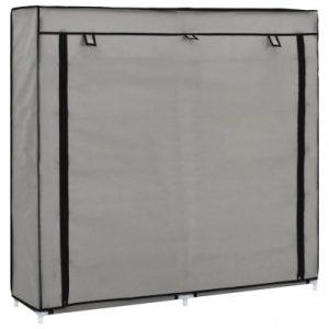 vidaXL Schoenenkast met hoes 115x28x110 cm stof grijs - vidaXL