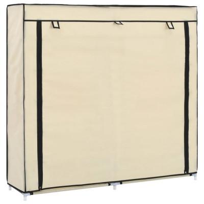 vidaXL Schoenenkast met hoes 115x28x110 cm stof crème - vidaXL
