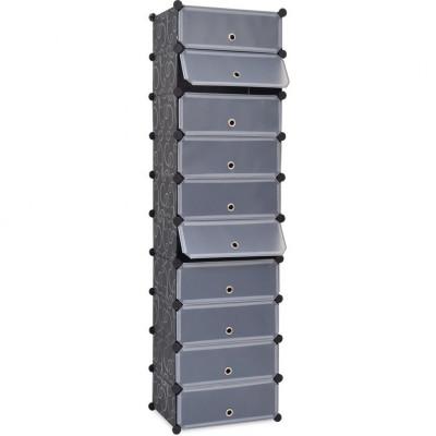 vidaXL Schoenenkast met 10 ineengrijpende vakken zwart - vidaXL