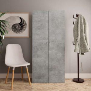 vidaXL Schoenenkast 80x35,5x180 cm spaanplaat betongrijs - vidaXL