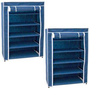 2x Stuks opvouwbaar camping schoenenrek/schoenenkast blauw 60 x 30 x 88 cm